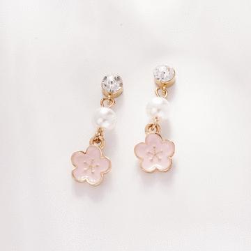 浪漫唯美粉嫩櫻花 耳針/無耳洞黏貼式耳環