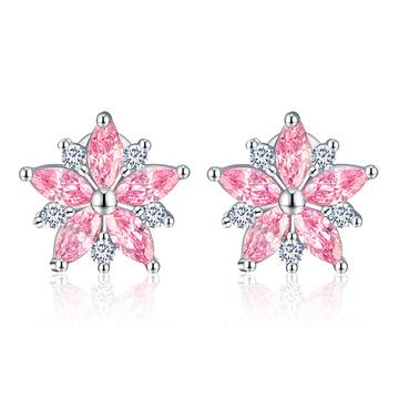 甜美粉嫩櫻花鑲鑽 黏式耳環