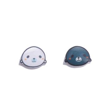 黑白海獺熱縮片黏式耳環
