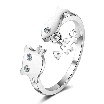 貓咪與小魚微鑲開口戒指