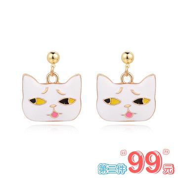 【 第2件99元】日系可愛卡通表情貓咪 無耳洞黏貼式耳環