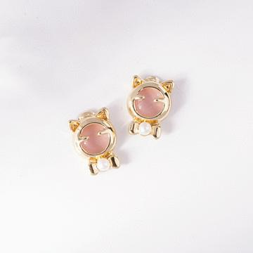 療癒系貓耳珍珠 無耳洞黏貼式耳環