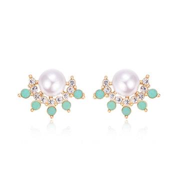 氣質珍珠綠色水鑽黏式耳環