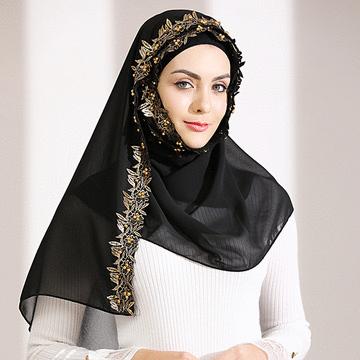 穆斯林雪紡奢華金邊款長頭巾