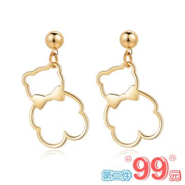 【 第2件99元】簍空金屬蝴蝶結小熊 無耳洞黏貼式耳環
