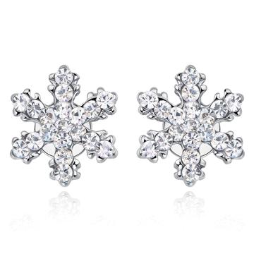 可愛亮麗滿鑽雪花 無耳洞黏貼式耳環