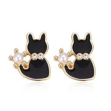 優雅珍珠小黑貓 耳針/黏式耳環