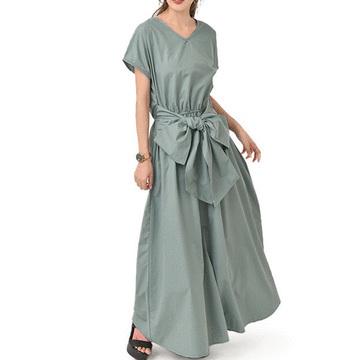 日系純色綁帶蝴蝶結連衣長裙