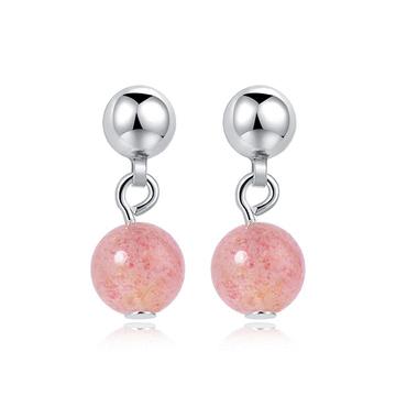 迷你簡約粉嫩水晶 耳針/黏式耳環