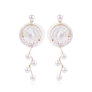 簍空蕾絲冷淡風珍珠黏式耳環