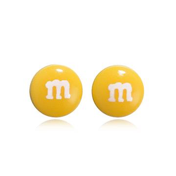 仿真M字巧克力豆 黏式耳環