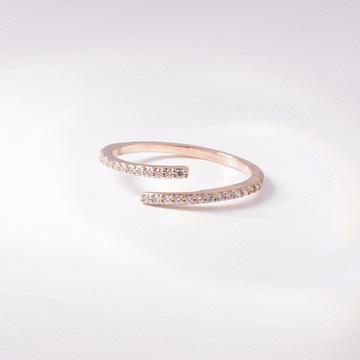 簡約線條鑲鑽開口戒指