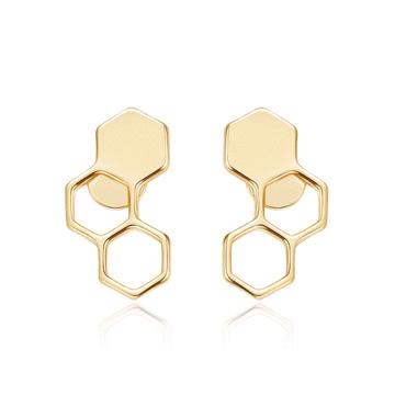 時尚幾何設計蜂巢黏式耳環