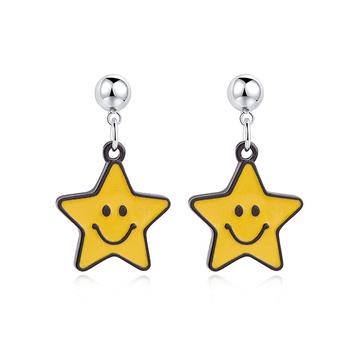 亮眼黃色笑臉星星 黏式耳環