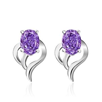 璀璨愛情銀光紫鑽黏式耳環