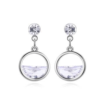 韓系優雅簍空半鑽 耳針/黏式耳環