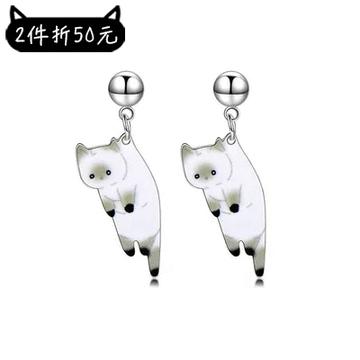 【2件折50元】俏皮呆萌黑白小貓咪 耳針/黏式耳環
