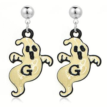 萬聖節搗蛋驚嚇幽靈 無耳洞黏貼式耳環