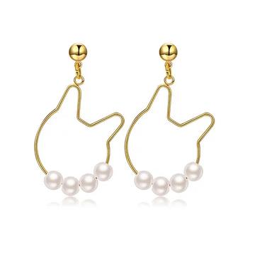 日系甜美可愛小貓珍珠 耳針/黏式耳環