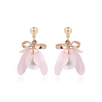 氣質珍珠蝴蝶結花瓣 耳針/黏式耳環