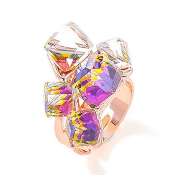 炫彩耀眼極光水晶開口戒指