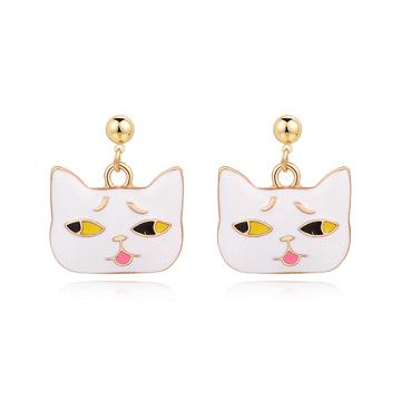 【迎春童款75折】日系可愛卡通表情貓咪 黏式耳環