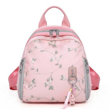 韓版清新花朵刺繡雙肩後背包
