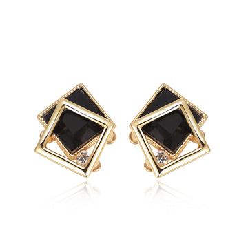 優雅深邃方形鑲鑽 耳針/黏式耳環
