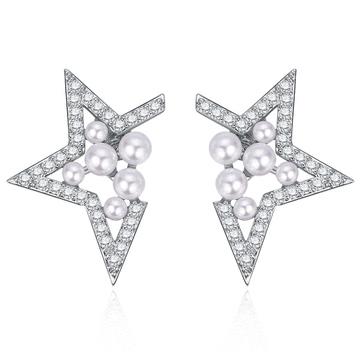 【專區3件85折】個性幾何簍空珍珠 耳針/無耳洞黏貼式耳環