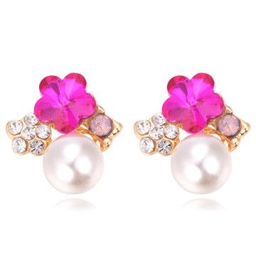 【限時199元】氣質梅花珍珠鑲鑽 無耳洞黏貼式耳環