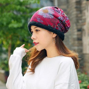 韓版多功能印花加絨套頭帽