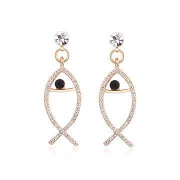 韓版氣質鑲鑽簍空小魚黏式耳環