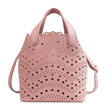 純色簍空手提子母水桶包