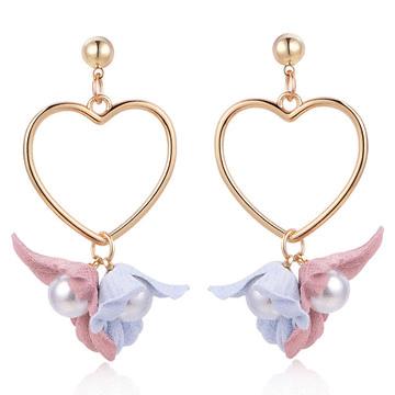 清新甜美愛心花卉 耳針/無耳洞黏貼式耳環