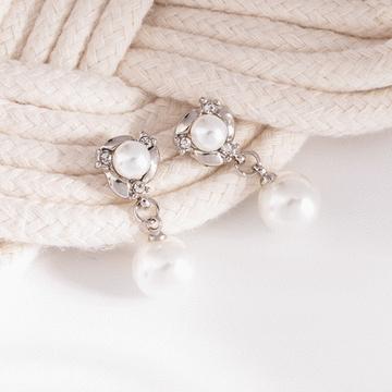 典雅雙生珍珠 耳針/無耳洞黏貼式耳環