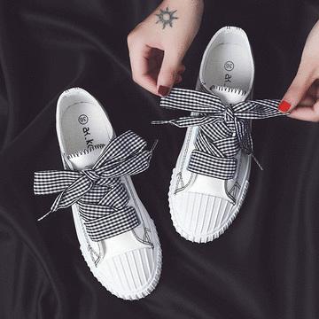 日系潮流格紋緞帶帆布鞋