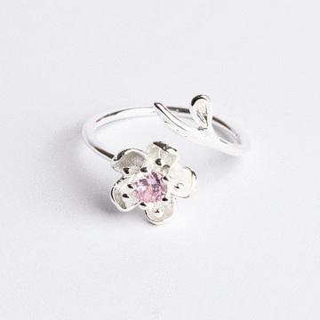 森林系女孩鑲鑽花朵開口戒指