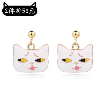 【2件折50元】日系可愛卡通表情貓咪 黏式耳環