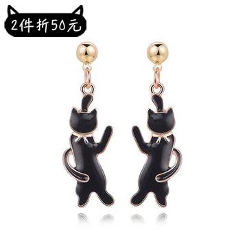 【2件折50元】可愛緞帶黑色小貓 黏式耳環