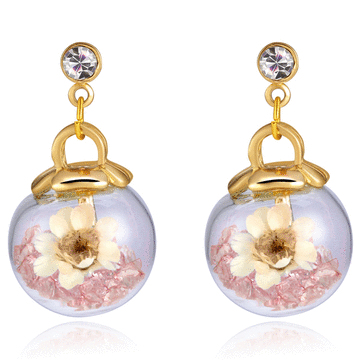 彩色水晶透明玻璃球乾花 無耳洞黏貼式耳環