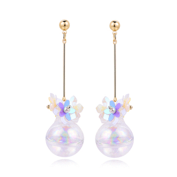 【玻璃:黏式耳環新手勿入】韓版玻璃球花朵 耳針/黏式耳環