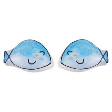 【限時199元】藍色小魚熱縮片 無耳洞黏貼式耳環