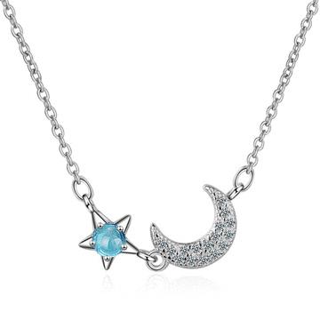 清新優雅星月鑲鑽項鍊