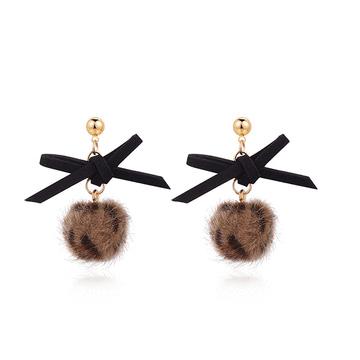 時髦蝴蝶結豹紋毛球 耳針/黏式耳環