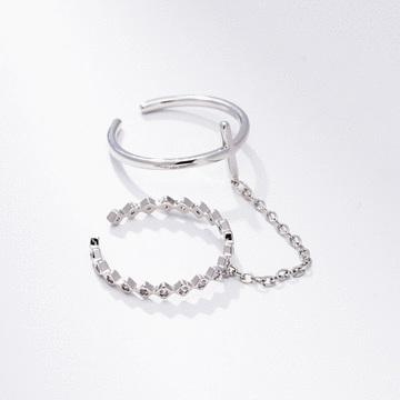 十字鏈結微鑲雙環開口戒指