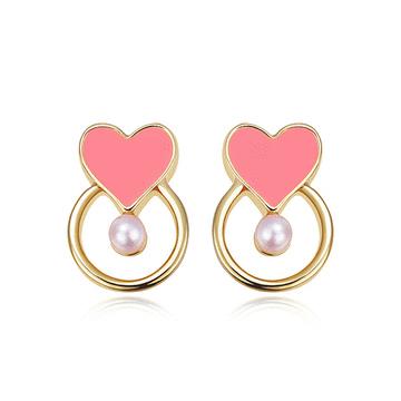 韓系簍空愛心珍珠黏式耳環
