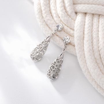 復古典雅簍空水滴雕花 無耳洞黏貼式耳環