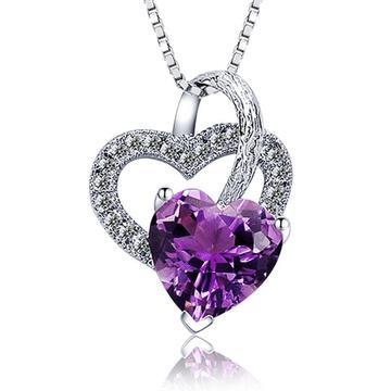 浪漫愛情心形水晶鑲鑽項鍊