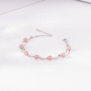 氣質雙層天然草莓粉晶手鍊