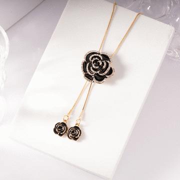 奢華高雅黑玫瑰鑲鑽毛衣項鍊